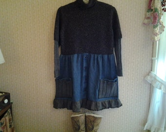 Upcycled, OOAK, Cowgirl Sweater Denim Tunic dress