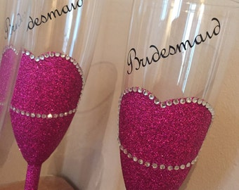 Personalised wedding, bridesmaid, mother of the bride, mother of the groom glitter glasses.