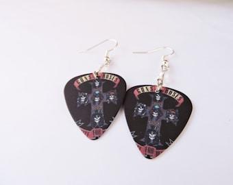 Guns N Roses Guitar Pick Earrings, Dangle Earrings, Rock Band Jewelry