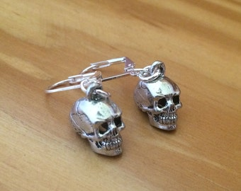 Skull Earrings — Dia de los Muertos — Day of the Dead — Antique Sterling Silver Skulls
