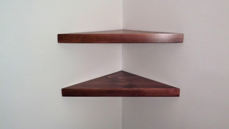 set of 2 18 inch floating corner shelves with black cherry. Black Bedroom Furniture Sets. Home Design Ideas