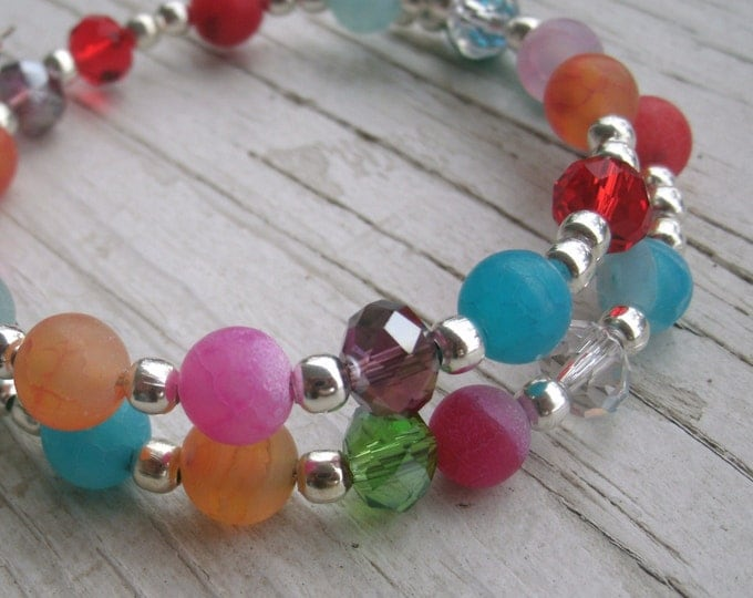Boho/Gypsy OOAK bracelet, Crystal and Agate beaded Memory Wire Bracelet, silver accents, rainbow look, Frosted Agate beads, Crystal beads