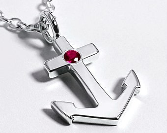 Ruby Anchor Necklace Pendant in Sterling Silver - Sterling Silver Anchor Necklace, Sterling Silver Anchor Pendant, Ruby Anchor Pendant