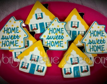 12 Home Sweet Home Cookies - Housewarming Gift - Housewarming Party Favors - New Home Gift