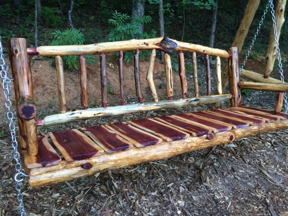 6 Porch Swing Rustic Live Edge Cedar Log Outdoor