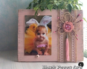 Easter cute gift/Wooden picture frame/Rustic frame/Rustic wedding frame/Shabby chic frame/Cottage chic frame/Mixed media frame/Nursery girl