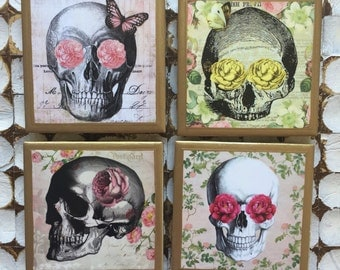 COASTERS!! Skull coasters with flowers and butterflies with gold trim