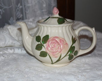 Vintage Shawnee Tea Pot, Made in the USA Pink Rose Teapot