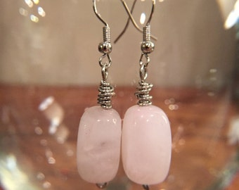 Handmade Pink Glass Bead and Silver Wire Wrapped Dangling Earrings.