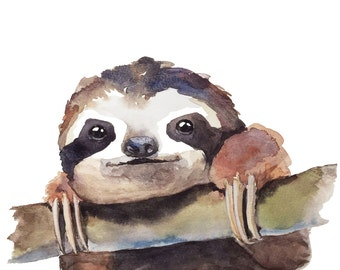 "Baby Sloth-""hang in there."" Watercolor fine art print, baby animal prints, nursery decor, wall art"