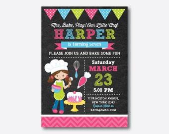 Chef Birthday Invitation, Chef Invitation, Chef Party Invitation, Pastry Chef Invitation, Girl Invitation, Personalized, Chalkboard(CKB.202)