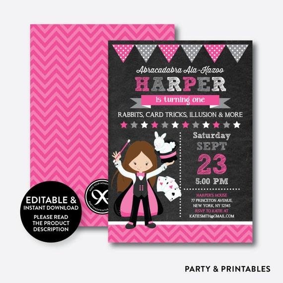 Instant Download Editable Magic Birthday Invitation Magic