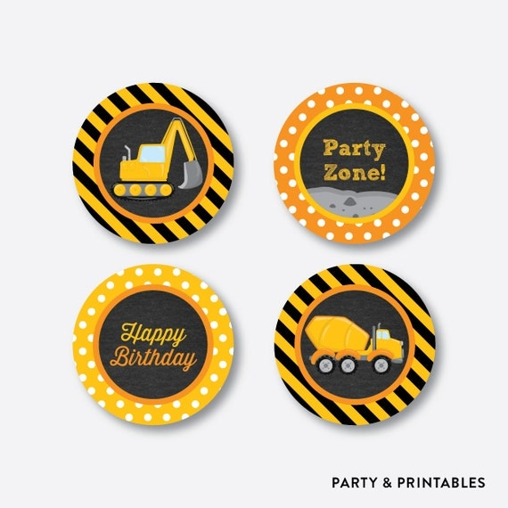 instant download construction cupcake toppers
