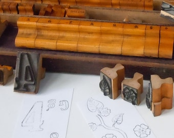 Vintage Rubber Stamps / Signage from an old Hardware Store / Original Wooden Box / Dogwood Branch Details