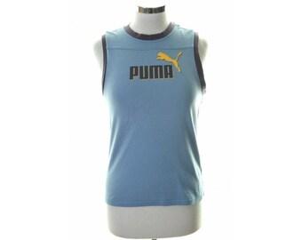 Puma Womens Top T-Shirt Sleeveless Size 32/34 6 XS Blue Cotton
