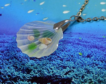 Seashell pendant Necklace - Resin necklace - marine necklace - Real seashells in Epoxy Resin - Great gift - Pendant Handmade