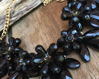 adjustable chunky black flower necklace, bold black floral necklace, black summer necklace, black statement flower necklace, gift for her