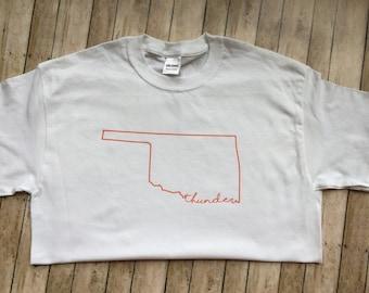 Oklahoma shirt, state of Oklahoma, thunder, OKC, Oklahoma outline