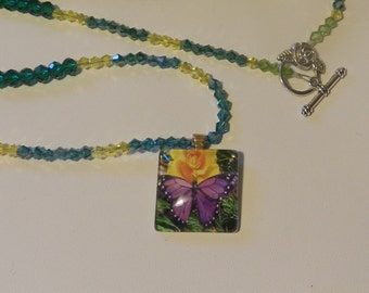 Purple Butterfly and Yellow Rose Necklace  V4574