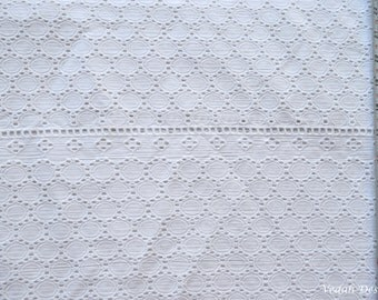 OOAK white eyelet fabric self embroidered fabric by the yard