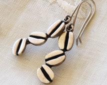 Vintage Mexican Southwestern Sterling Silver Coffee Bean Dangle Earrings