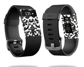 Skin Decal Wrap for Fitbit Blaze, Charge, Charge HR, Surge Watch cover sticker Black Damask