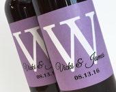 Single Monogram Mini Wine Bottle Labels for wedding favor bridal shower favor anniversary party - choose your colors - sheet of 12