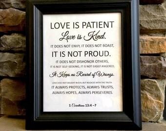 "Love is Patient, Love is Kind...Corinthians Verse - 8""x10"" pdf print jpeg art - Wedding or Valentine's Day Gift - love art- digital download"