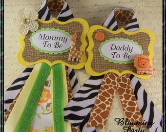 set of safari mommy to be and daddy to be baby shower corsage safari corsage giraffe