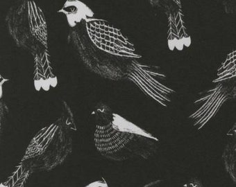 Fabric by the yard - Modern cotton - Quilt fabric - Black and White Fabric - Sale Fabric - Dear Stella - Black Sleeping Sparrow