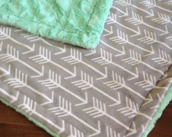 Minky Blanket- Gray Arrows & Mint Green, Minky Baby Blanket, Toddler Blanket, Adult Minky Throw