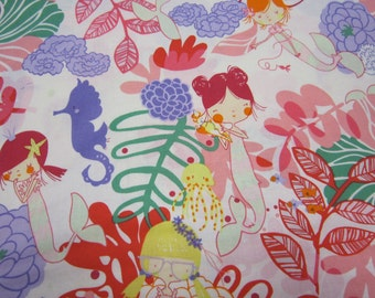 Tropical Mermaid Cotton Fabric by Alexander Henry called If I Were a Mermaid in Pinks