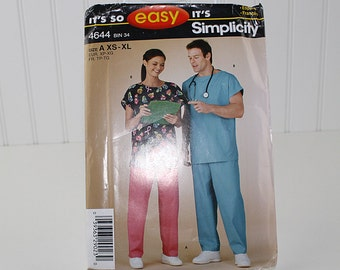 Scrubs Top and Pants Sewing Pattern, UNCUT Sewing Pattern, Simplicity 4644, Size XS-XL