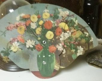 Vintage Flowers - Funeral Home Advertising Fan - Hoover Funeral Home, Berrysburg, PA