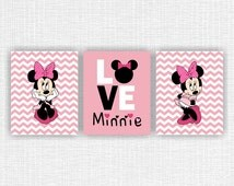 Minnie Mouse Wall Art, Love, Disney Wall Art, Set of 3, 8x10, Girl Room Playroom Decor Art, instant download
