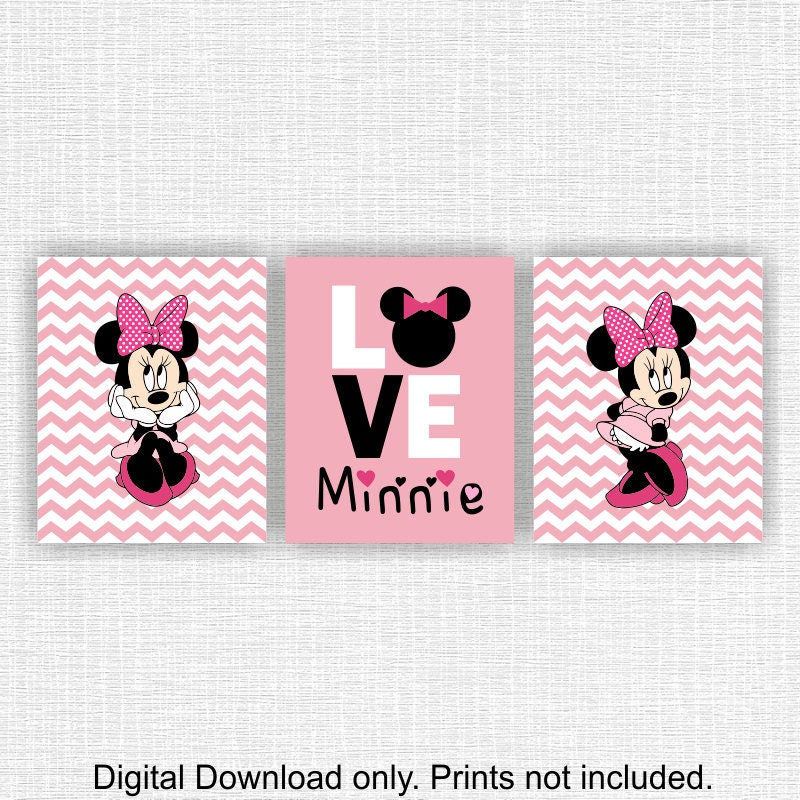 Minnie Mouse Wall Art Love Disney Wall Art Set Of 3 8x10