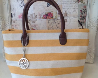 Mustard and Cream Stripe Canvas Handbag Was 38 Now 30