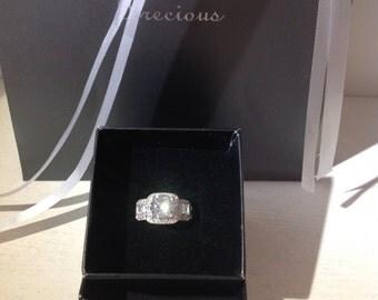 Square Shaped Silver Zopius Diamond Ring