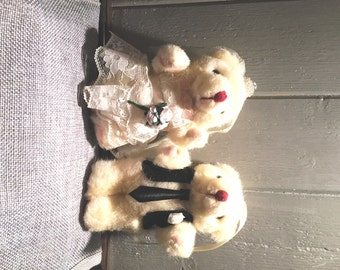 Shabby Chic Bride & Groom Teddy Bears - hanging on ribbon - give on the wedding day.