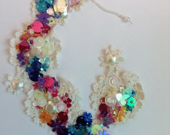 Handmade lace necklace with added embellishments