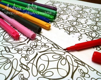 Pattern Coloring Pack #7 - 6 PDF Pages