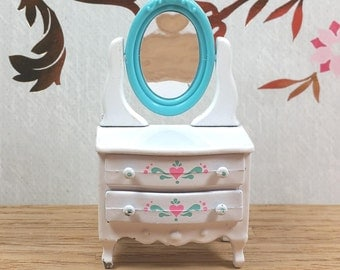 "MINIATURE METAL DRESSER, ""The Littles"", Mattel, 1980, Vintage Dollhouse Furniture"