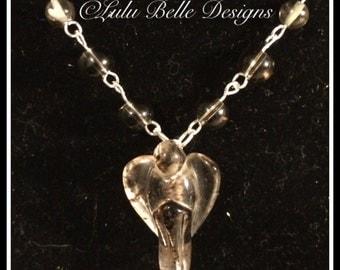 Sterling Silver Carved Angel Smoky Quartz Pendant Necklace with Smokey Quartz Gemstone Beads