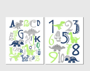 Navy and lime green dinosaur Alphabet and numbers art print set -UNFRAMED- abc, alphabet, numbers, t-rex, dinosaurs, grey, dino