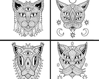 Cat coloring book  Etsy