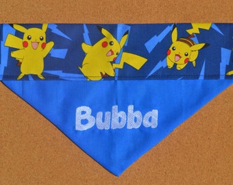 Pikachu ~ Personalized / Reversible ~ Over The Collar Dog Bandana