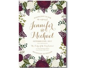 Vintage Floral Wedding Invitation - Fall Wedding - Vintage Floral - Floral Wedding - Vintage Wedding - Vintage Floral Invitation #CL123