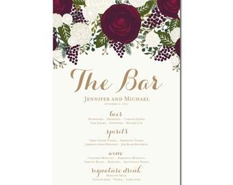 Printable Bar Menu Sign - Wedding Printable Bar Menu Sign - Wedding Bar Menu Poster - Wedding Sign - Wedding Bar Menu - Drink Menu #CL158
