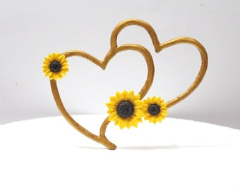 Topper Cake Sunflower, Rustic Heart Cake Topper, Rustic Wedding Cake Topper, Sunflower Wedding, Topper Sunflower Wedding, Wedding Hearts