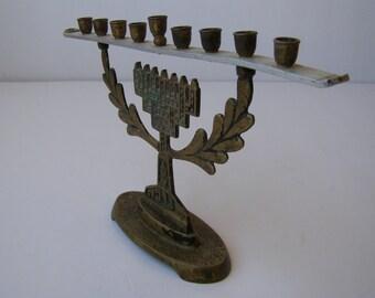 Rare Jewish Judaica, Brass + Aluminum Hanukkah Lamp Menorah, Israel 1950's